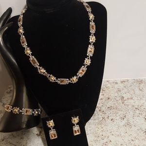 Silver, Gold and Brown Stone Jewelry Set